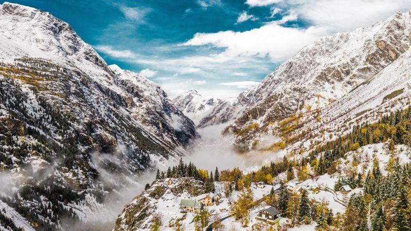 Saint Christophe en Oisans, France, Glacier mountains, Snow covered, Valley, Foggy, Landscape, Scenery, 5K, Wallpaper