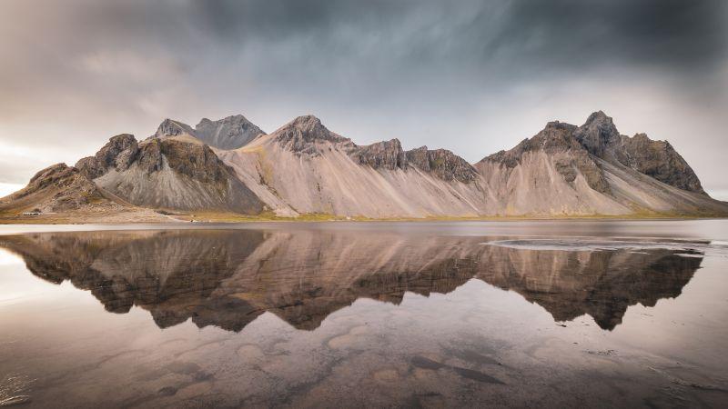 Mountain View, Landscape, Scenery, Mountain range, Body of Water, Reflection, Iceland, 5K, Wallpaper