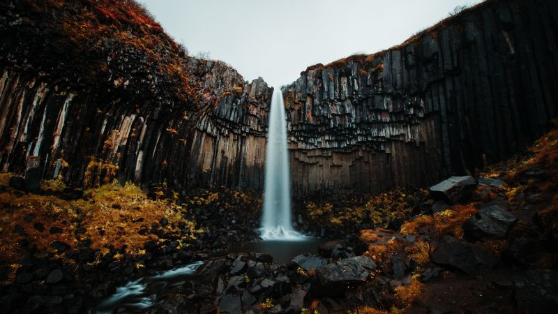 Svartifoss waterfall, Skaftafell, Vatnajökull National Park, Iceland, Water Stream, Rocks, Landscape, Tourist attraction, Scenery, 5K, Wallpaper