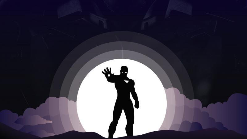Iron Man, Marvel Superheroes, Silhouette, Tony Stark, Dark background, Minimal art, Robert Downey Jr, Wallpaper