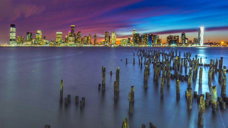 New York City, Metropolitan, Skyline, Cityscape, Night, City lights, Long exposure, Pier, 5K, Wallpaper
