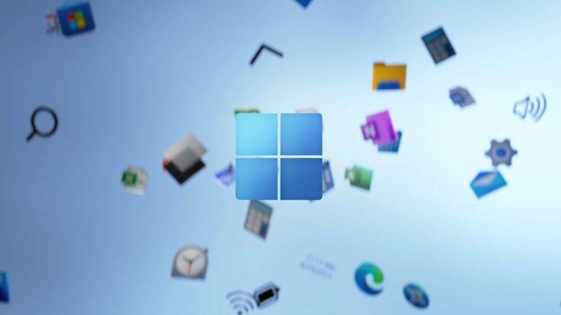 Windows 11, Stock, Official, Blue background, Apps, 2021, Wallpaper
