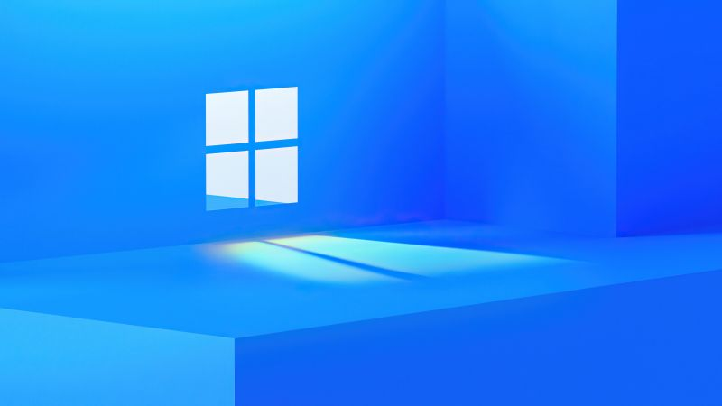 Windows 11, Stock, Official, Blue background, Windows logo, Aesthetic, Wallpaper