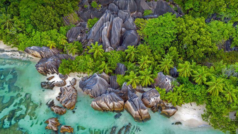 Beach, Seashore, Rocks, Aerial view, Drone photo, Landscape, 5K, Wallpaper