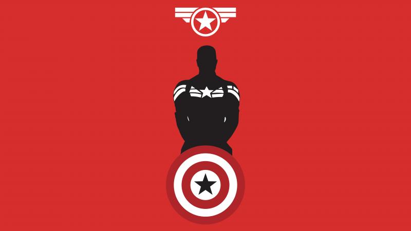 Captain America, Marvel Superheroes, Minimal art, Red background, 5K, 8K, Wallpaper