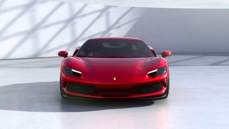 Ferrari 296 GTB, Hybrid sports car, Red cars, 2022, Wallpaper