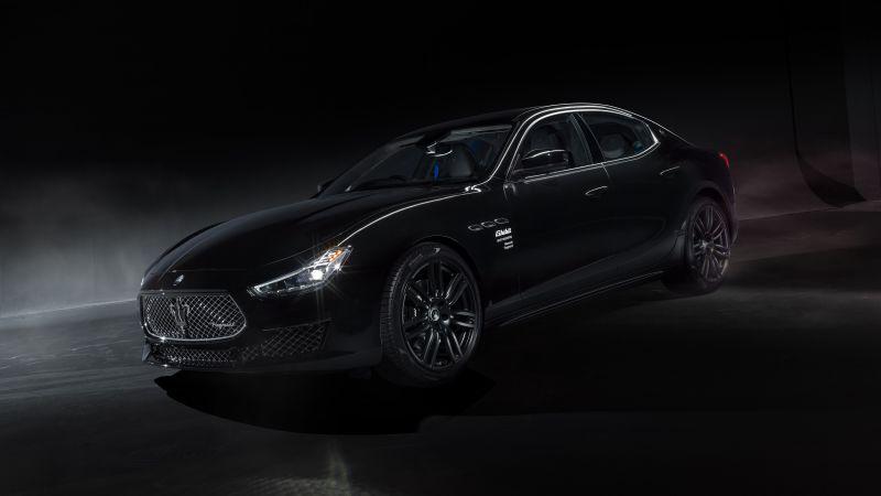 Maserati Ghibli Operanera by Fragment, 2021, Dark background, Black cars, 5K, Wallpaper