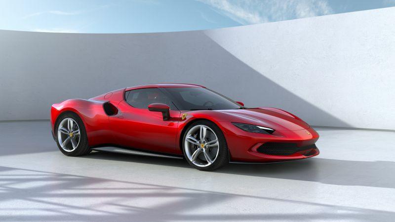 Ferrari 296 GTB, Hybrid sports car, Red cars, 2022, 5K, Wallpaper
