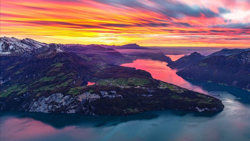 Fronalpstock, Afterglow, Mountain range, Switzerland, Aerial view, Landscape, Dusk, Scenery, Golden hour, Orange sky, Long exposure, Wallpaper