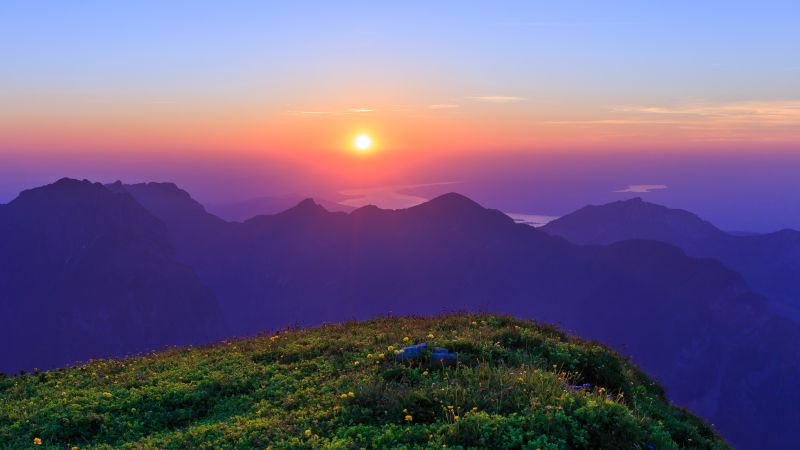 Rautispitz, Sunset, Mountain range, Evening sky, Dusk, Switzerland, Cliff, Landscape, Scenery, Wallpaper