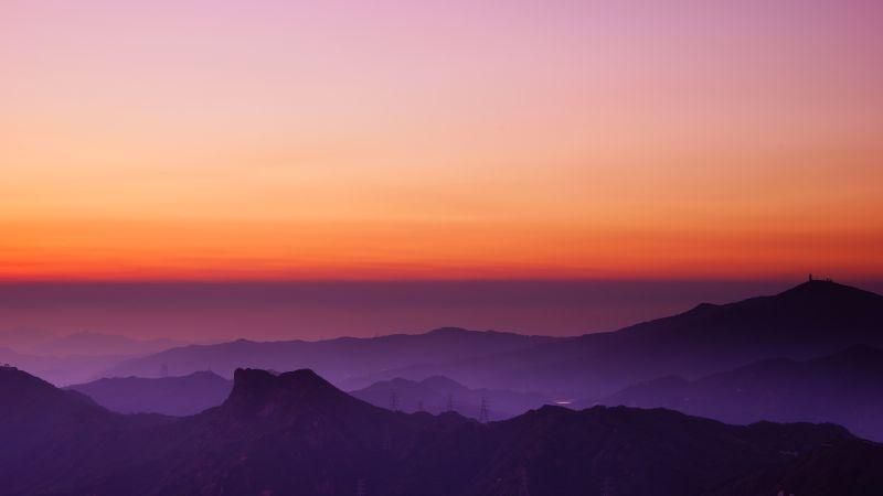 Lion Rock Hill, Sunset, Hong Kong, Dusk, Mountain View, Fog, Horizon, Clear sky, Landscape, Scenery, 5K, Wallpaper