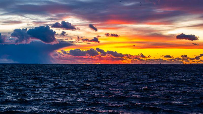 Seascape, Sunset, Ocean view, Cloudy Sky, Dusk, Horizon, 5K, Wallpaper