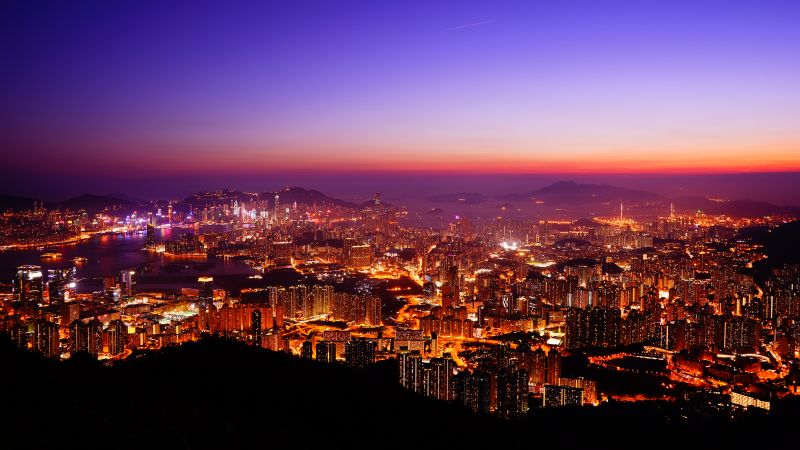 Hong Kong City, Skyline, Sunset, Cityscape, Aerial view, Night time, City lights, Dusk, Horizon, Clear sky, Skyscrapers, 5K, Wallpaper