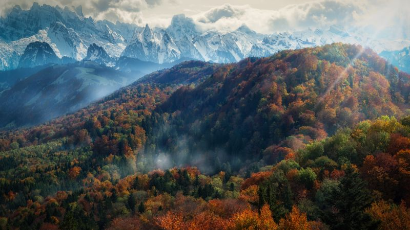 Alps mountains, Autumn, Snow covered, Mountain range, Europe, Cloudy, Landscape, Scenery, Day time, 5K, Wallpaper