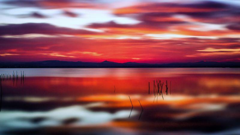 Sunset, Silhouette, Beautiful, Long exposure, Landscape, Scenery, 5K, Wallpaper