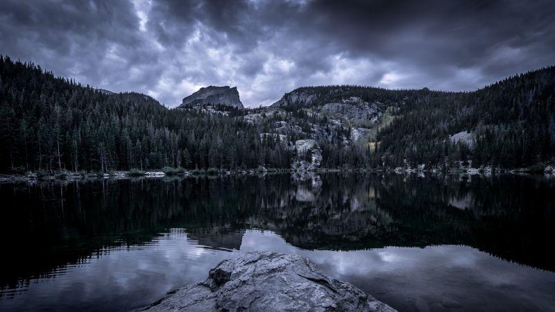 Bear Lake, Rocky Mountain National Park, Mountain View, Cloudy Sky, Reflection, Body of Water, Landscape, Scenery, 5K, Wallpaper
