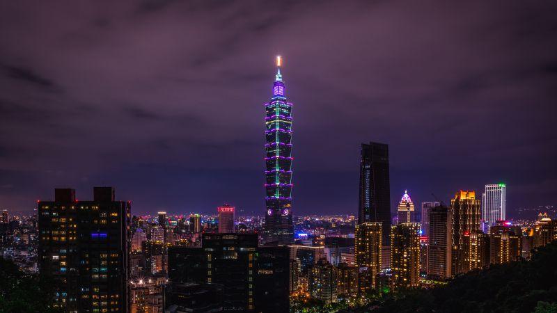 Taipei 101, City Skyline, Skyscraper, Cityscape, Night time, City lights, 5K, Wallpaper