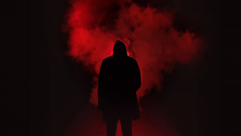 Person Silhouette, Red Smoke, Dark Place, Hoodie, 5K, Wallpaper