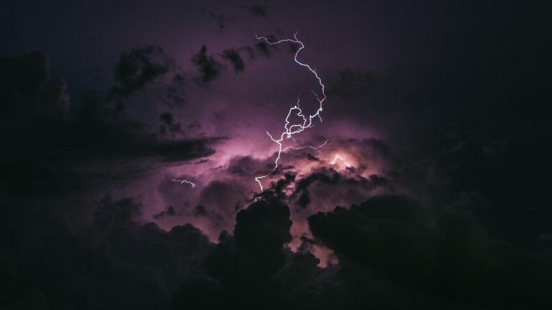 Lightning Strike, Stormy Clouds, Dark Sky, Natural Phenomena, 5K, Wallpaper