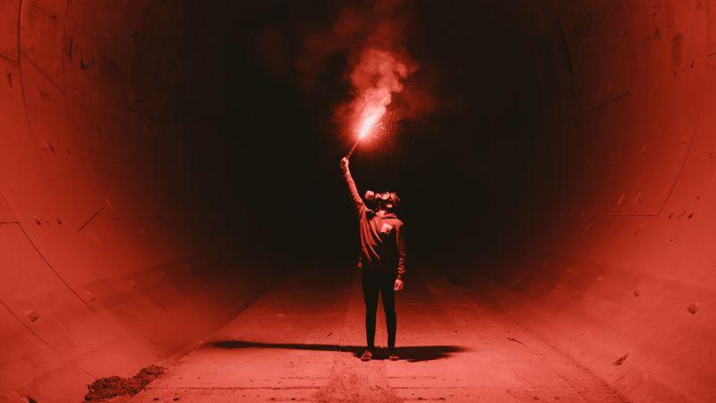 Red Flare Smoke, Tunnel, Man in Mask, Underground, Fireworks, 5K, Wallpaper