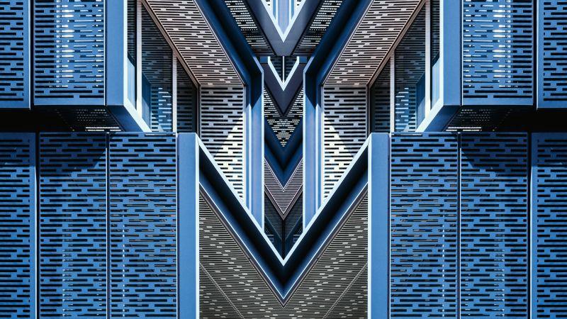 Architectural Design, Blue, Building, Symmetrical, Pattern, 5K, Wallpaper