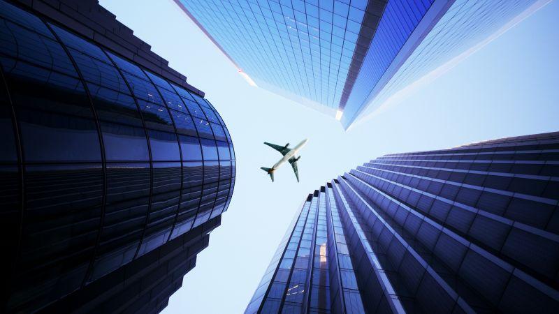 Skyscrapers, Airplane, High rise building, Metropolis, 5K, Wallpaper