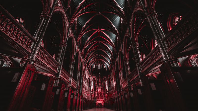 Notre-Dame Cathedral Basilica, Ottawa, Canada, Historical landmark, Religion, Archway, Red, Ancient architecture, 5K, Wallpaper