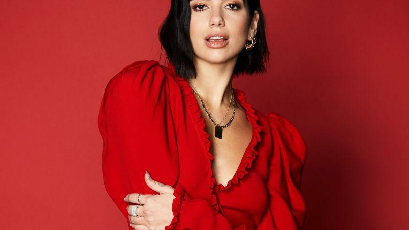 Dua Lipa, Model, Singer, Red background, Wallpaper