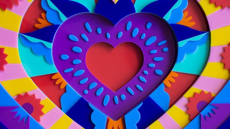 Love heart, Colorful, 3D, Acrylic, Multicolor, Instagram, Wallpaper