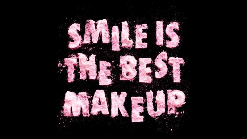 Smile is the Best Makeup, Girly, Typography, Black background, Baby pink, 5K, Wallpaper