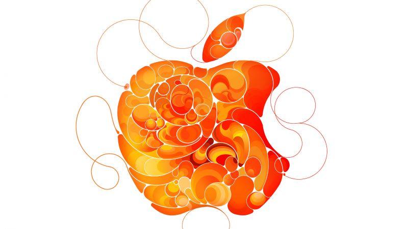 Apple, Logo, Orange, Liquid art, White background, Apple Event, Abstract, Wallpaper