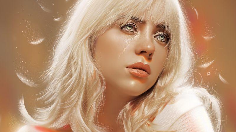 Billie Eilish, American singer, Portrait, Girly, Beautiful, Artwork, Wallpaper