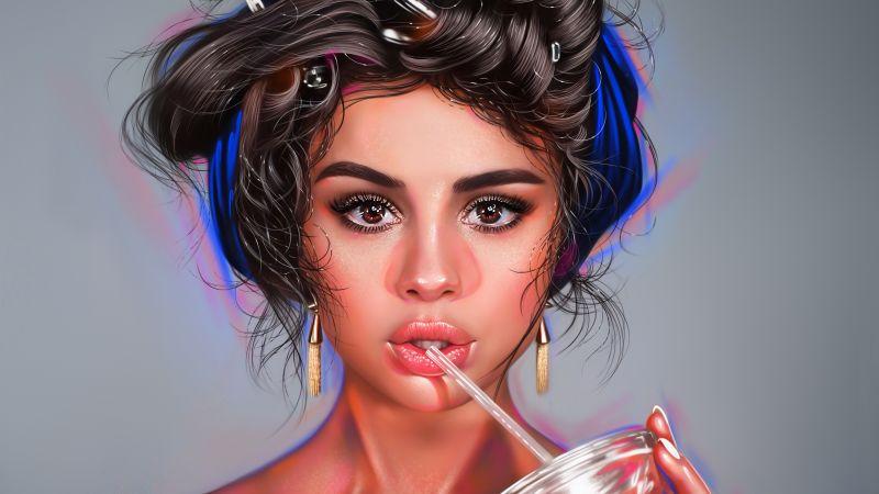 Selena Gomez, American singer, Artwork, Digital Art, Portrait, Wallpaper