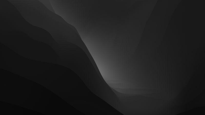 macOS Monterey, Stock, Black, Dark Mode, Layers, 5K, Wallpaper