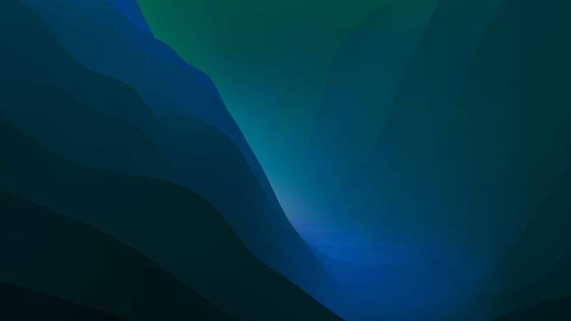 macOS Monterey, Stock, Green, Dark Mode, Layers, 5K, Wallpaper