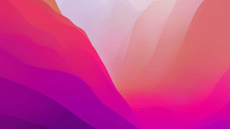 macOS Monterey, Stock, Pink, Light, Layers, 5K, 8K, Wallpaper