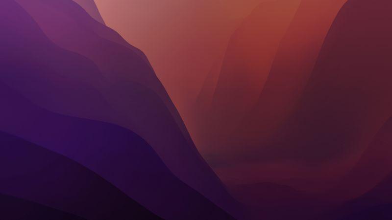 macOS Monterey, Stock, Red, Dark Mode, Layers, 5K, Wallpaper