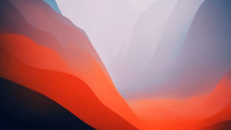 macOS Monterey, Stock, Orange, Light, Layers, 5K, Wallpaper