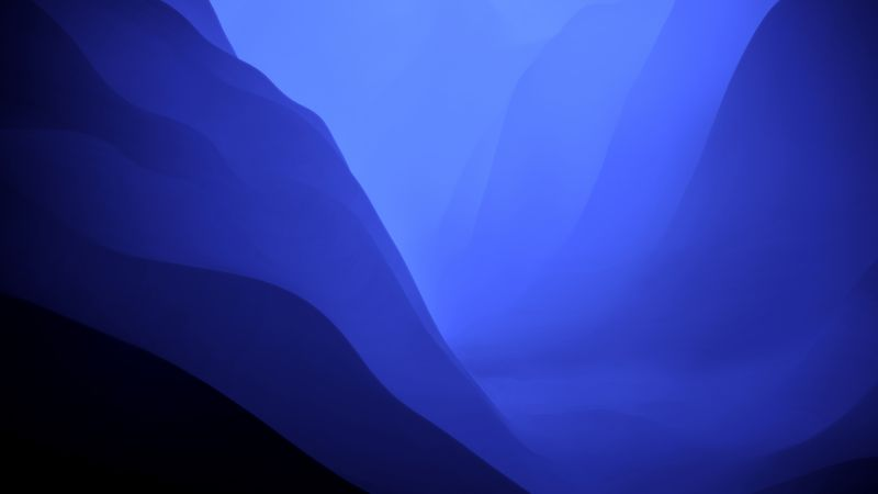 macOS Monterey, Stock, Blue, Dark Mode, Layers, 5K, Wallpaper