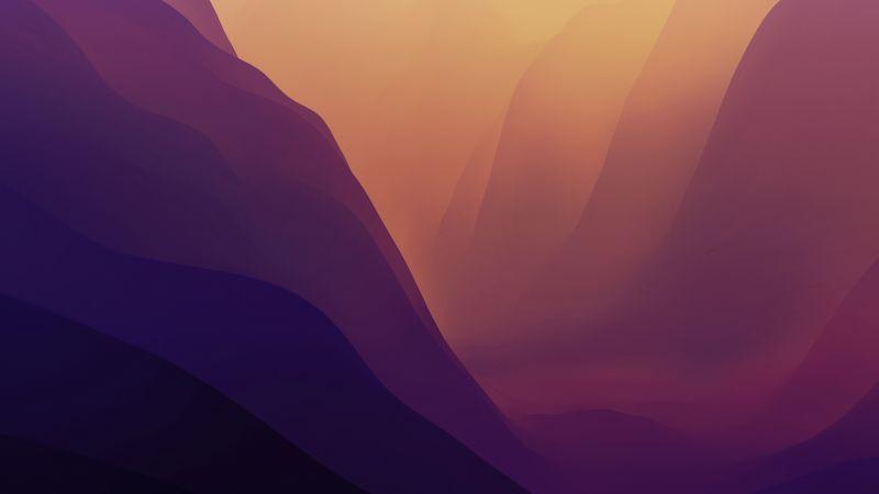 macOS Monterey, Stock, Red, Light, Layers, 5K, Wallpaper