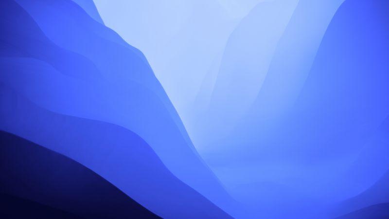 macOS Monterey, Stock, Blue, Light, Layers, 5K, Wallpaper