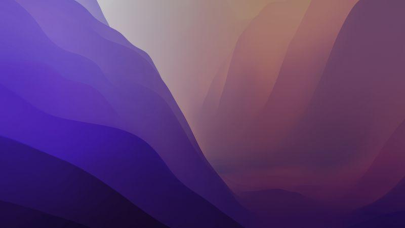 macOS Monterey, Stock, Purple, Light, Layers, 5K, Wallpaper
