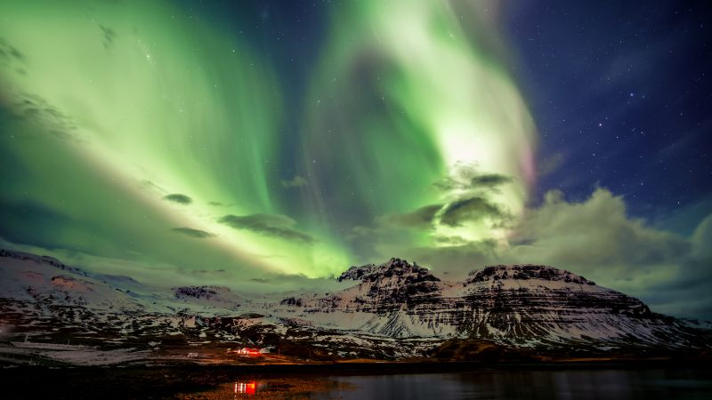 Northern Lights, Aurora Borealis, Iceland, Wallpaper