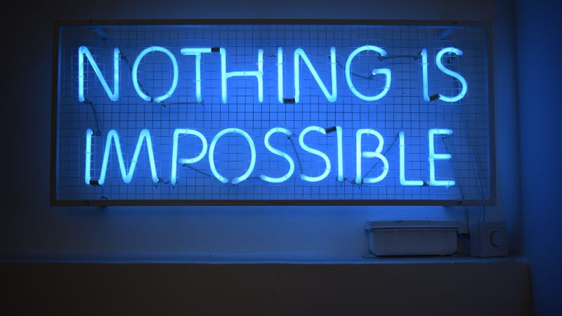 Nothing is Impossible, Neon sign, Blue light, Motivational, 5K, Wallpaper