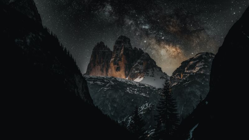 Three peaks of Lavaredo, Dolomites, Italy, Tourist attraction, Milky Way, Starry sky, Mountain Peaks, Snow covered, Night time, Outer space, 5K, Wallpaper