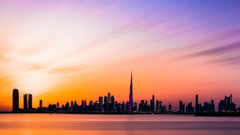 Dubai City, Burj Khalifa, Skyline, Silhouette, Cityscape, Dusk, Sunset, Long exposure, Skyscrapers, Wallpaper