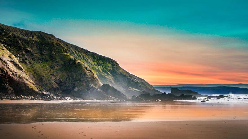 Seashore, Beach, Sunset, Dawn, Landscape, Scenery, Rocks, 5K, Wallpaper