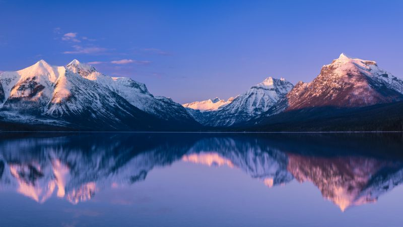 McDonald Lake, Glacier National Park, Snow covered, Mountain range, Reflection, Landscape, Scenery, Body of Water, Panoramic, 5K, Wallpaper