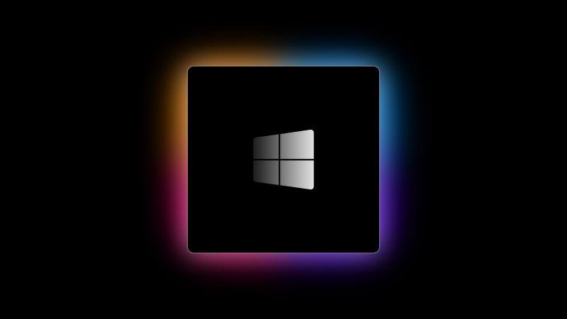 Windows logo, M1 Chip, Black background, Gradient, Windows 10, 5K, AMOLED, Wallpaper