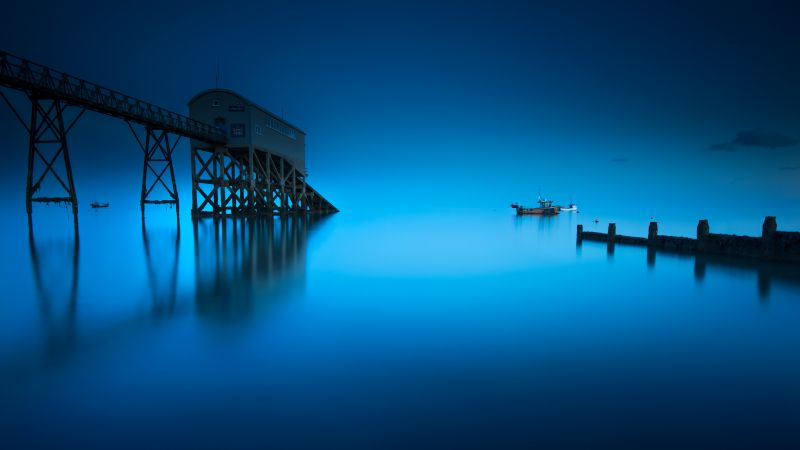 Selsey Lifeboat Station, England, Seascape, Blue background, Moonlight, Pier, Long exposure, Reflection, 5K, Wallpaper